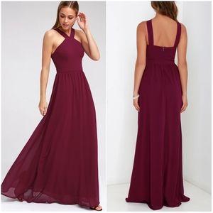 Lulu's Air of Romance Burgundy Maxi Dress Sz Small